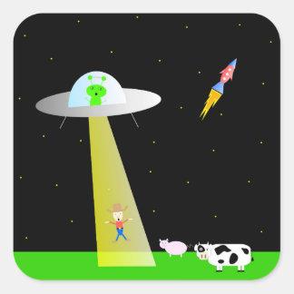 Cute farm man and alien square sticker
