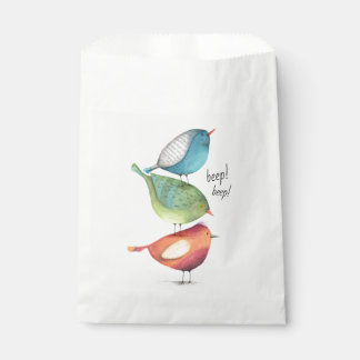 Cute Fat Birds Standing on Each Other Favour Bag