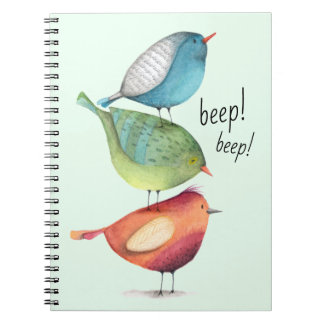 Cute Fat Birds Standing on Each Other Spiral Notebook