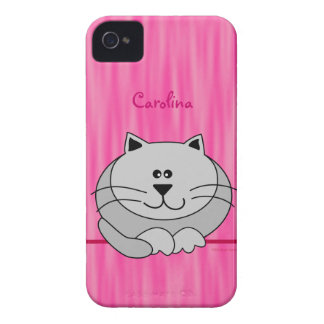 Cute Fat Cat on Pink Personalized Name Cover Case-Mate iPhone 4 Cases