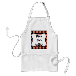 Cute Fat Kitty Cats in Pink Melon on Black Adult Apron