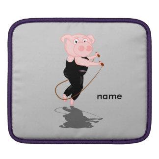 Cute Fat Pig Skipping iPad Sleeve