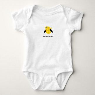 Cute Fat Yellow Checkered Bird Cartoon Baby Bodysuit