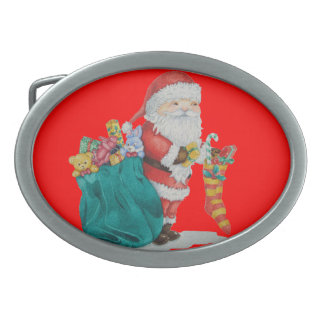 Cute father christmas with toys and gifts in sack belt buckles