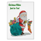 Cute father christmas with toys and gifts in sack card