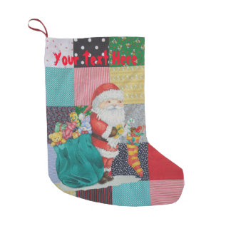 Cute father christmas with toys & gifts patchwork small christmas stocking