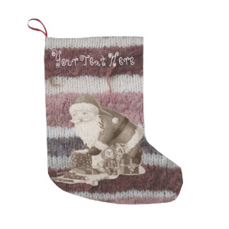 Cute father christmas wrapping gifts knitted