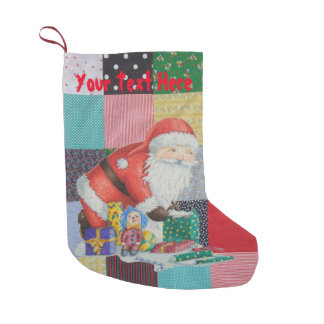 Cute father christmas wrapping gifts patchwork small christmas stocking