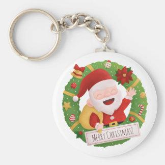 Cute Father Santa Claus Xmas Wreath Keychain