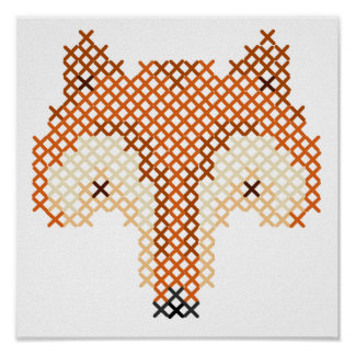 Cute Faux Embroidered Fox Poster