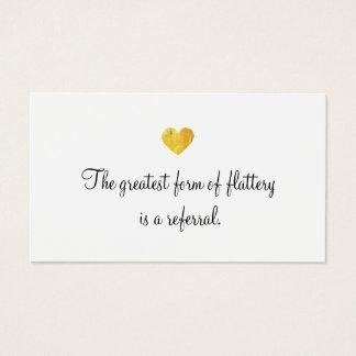 Cute Faux Gold Foil Heart Customer Referral Card