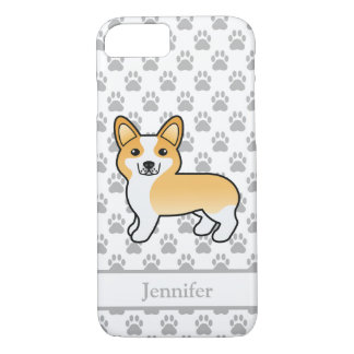 Cute Fawn And White Welsh Corgi Pembroke & Name iPhone 8/7 Case