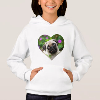 Cute Fawn Colored Pug Puppy Dog Face Photo Heart .