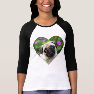 Cute Fawn Colored Pug Puppy Dog Face Photo Heart / T-Shirt