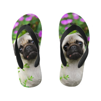 Cute Fawn Colored Pug Puppy Dog Portrait - Kids Kid's Thongs
