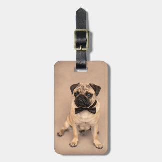 Cute Fawn Pug Dog with Bow Tie Luggage Tag