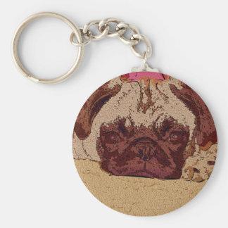 Cute Fawn Pug Puppy Basic Round Button Key Ring