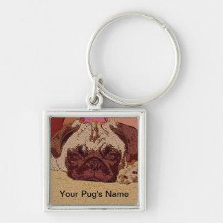 Cute Fawn Pug Puppy Key Ring