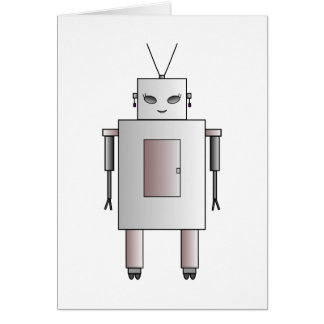 Cute Female Robot Vintage Retro Funny Card