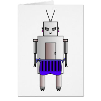 Cute Female Robot With Apron Vintage Retro Funny Card