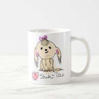 Cute Female Shih Tzu Doodle Drawing Basic White Mug