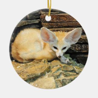 Cute fennec fox ceramic ornament