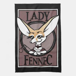 CUTE FENNEC FOX VICTORIAN LADY KITCHEN DISH TOWEL