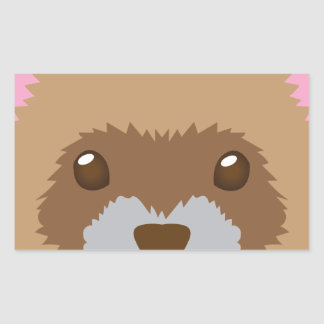 cute ferret face rectangular sticker