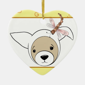 Cute Ferret in Easter Bunny Costume Ceramic Heart Decoration