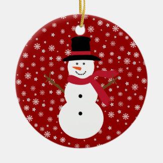 Cute Festive Cartoon Snowman Snowflakes & Stars Round Ceramic Decoration