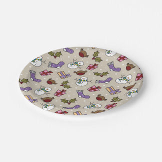 Cute Festive Characters Christmas Pattern 7 Inch Paper Plate