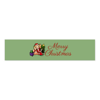 Cute Festive Green Santa Elephant Merry Christmas Napkin Band