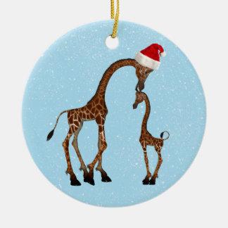 Cute Festive Mom & Baby Giraffe Ornament