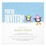 Cute Festive Penguin   Holiday Party Invitation