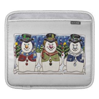 Cute Festive Snowmen iPad Sleeve