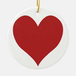Cute Fire Brick Heart Ceramic Ornament
