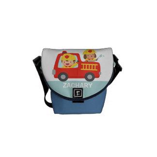 Cute Fire fighter Boy and Dog Fire Truck Bag Commuter Bag
