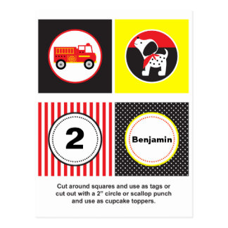 Cute Fire Truck Cupcake Toppers Postcard