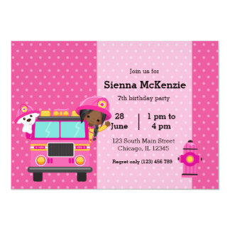 Cute Firefighter party 13 Cm X 18 Cm Invitation Card
