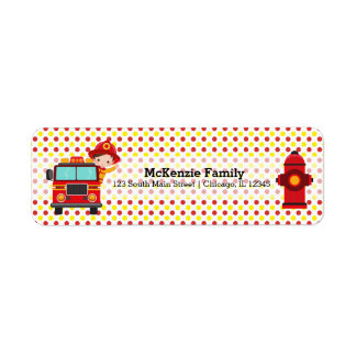 Cute firefighter return address label