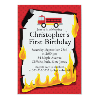 Cute Firetruck fireman Birthday Party 13 Cm X 18 Cm Invitation Card