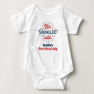 Cute First Fourth of July Personalized Baby Bodysuit