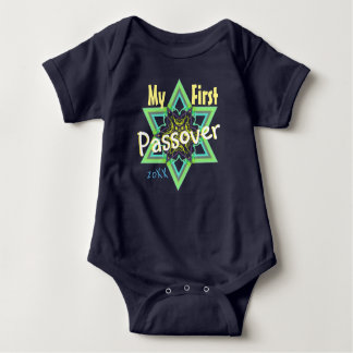Cute First Passover with Watercolor Star of David Baby Bodysuit