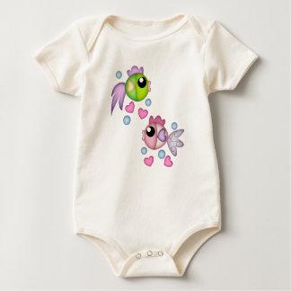 Cute Fish and Hearts Infant Organic Creeper