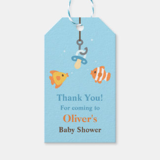 Cute Fish Bait Fishing Baby Shower Gift Tags