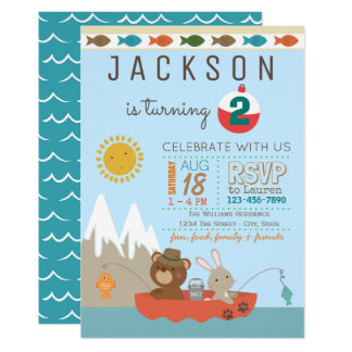 Cute Fishing Birthday Party Invitations