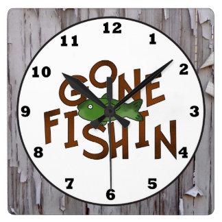 Cute Fishing cabin word art fish wall clock