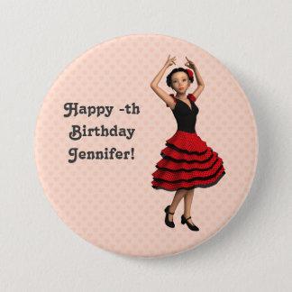 Cute Flamenco Dancer (Personalized) 7.5 Cm Round Badge
