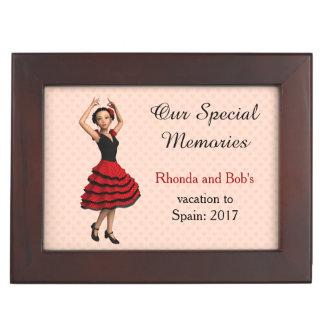Cute Flamenco Dancer (Personalized) Keepsake Box