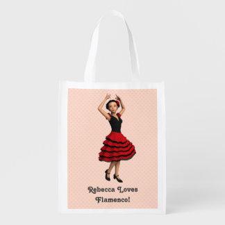 Cute Flamenco Dancer (Personalized) Reusable Grocery Bag